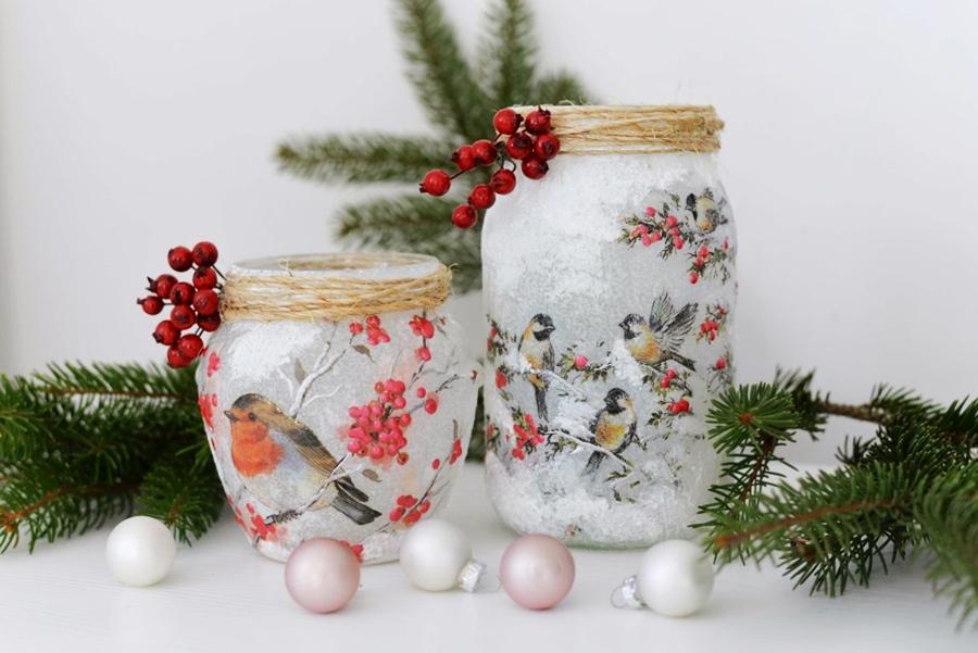 świąteczne ozdoby lampion ze słoika
