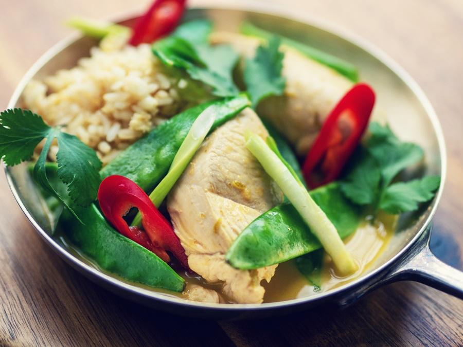 Zaparzana pierś z indyka w sosie (mango-curry) - przepis z warsztatów kulinarnych