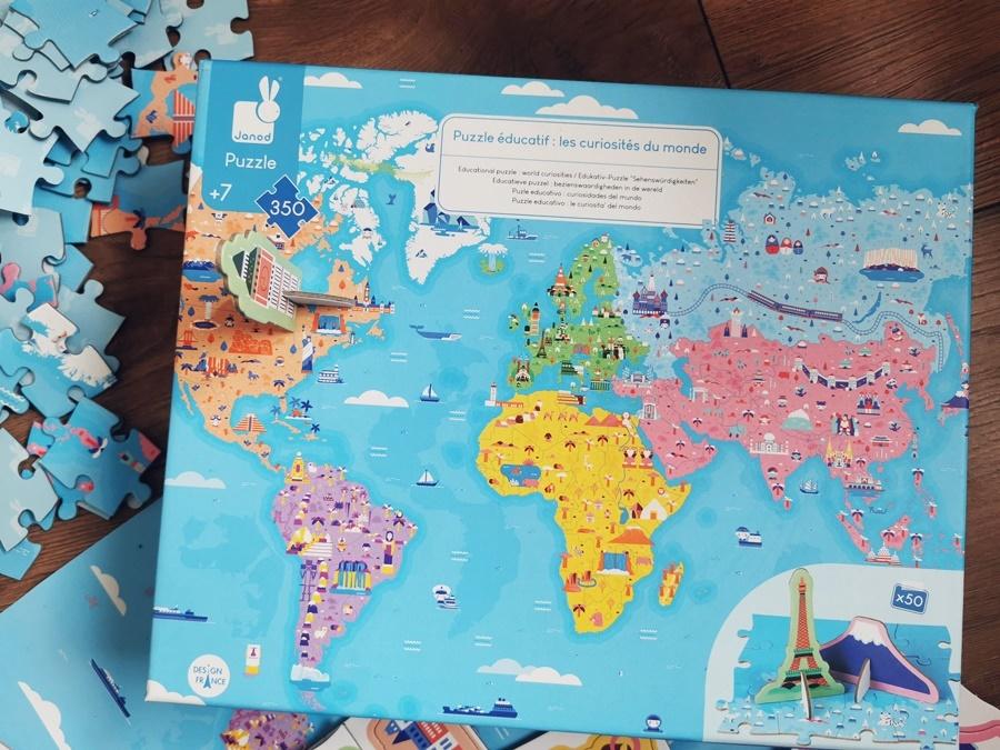 Puzzle Edukacyjne z Figurkami 3D Cuda Świata Janod